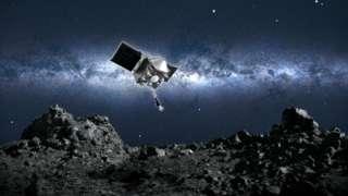 Ilustração da sonda Osiris-Rex se aproximando do asteroide