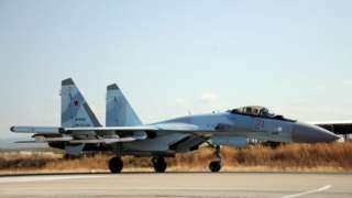 File photo showing a Russian air force Sukhoi Su-35 fighter landing at Hmeimim airbase in Latakia, Syria (26 September 2019)