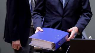 EU chief negotiator Michel Barnier seen on Christmas Day with the full post-Brexit text
