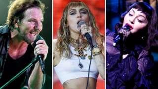 Left-right: Pearl Jam's Eddie Vedder, Miley Cyrus, Madonna