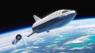 Starship ရဲ့ လူ ဒါမှမဟုတ် ကုန်တင်ဆောင်နိုင်တဲ့ ထိပ်ဘက် အပိုင်းက အာကာသထဲမှာ ခွဲခွာသွားမယ့် ပုံစံ အနေအထား