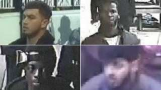 A composite image showing CCTV stills of four suspects