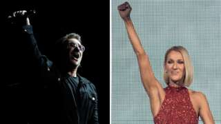 U2's Bono and Celine Dion in a composite image