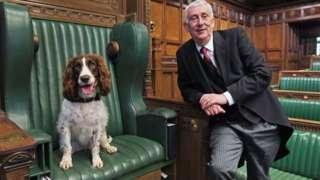 Poppy in Speaker's chair alongside Sir Lindsay Hoyle