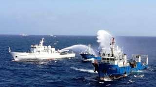 Ảnh chụp ngày 4/7 2016 cho thấy các tàu TQ tham gia tập trận ở Biển Đông