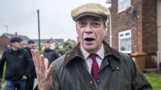 Nigel Farage on the campaign trail in Hartlepool, County Durham