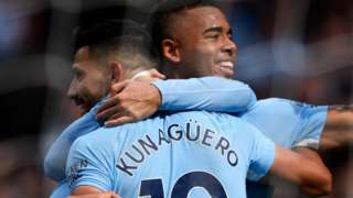 Sergio Aguero and Gabriel Jesus celebrate for Manchester City