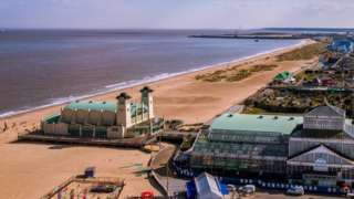 View of Great Yarmouth from big wheel looking south along Marine Parade towards outer harbour