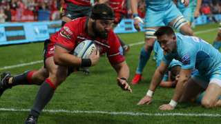 Gloucester hooker James Hanson went over for the first of his side's six tries against Worcester at Kingsholm