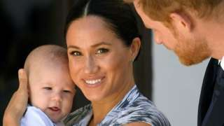 """Britain""""s Prince Harry and his wife, Duchess Meghan with their son Archie"""
