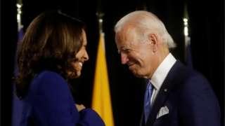Kamala Harris and Joe Biden in Wilmington, Delaware, 12 August 2020