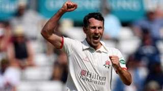 Graham Onions celebrates a wicket
