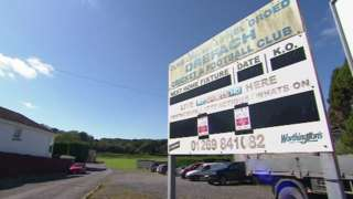 Drefach Cricket and Football Club fixture sign and club