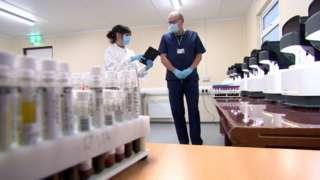 Interior of laboratory at hospital