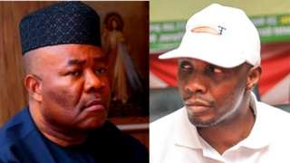 Minister of Niger Delta Affairs Godswill Akpabio and ex militant leader Tompolo