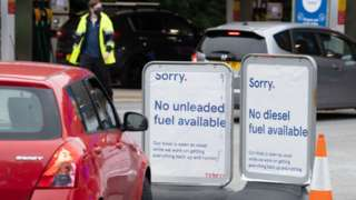 'No fuel' signs outside an petrol station in Cardiff on Friday