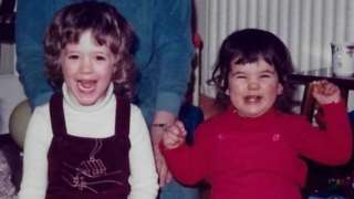 Victoria and Clare Scott as toddlers