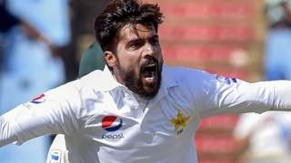 Mohammad Amir celebrates taking a wicket for Pakistan