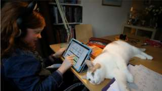 8-year-old Alice Wilkinson is joined by her cat Freddie as she does her maths online schooling in Manchester