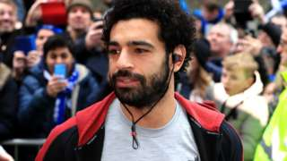 Liverpool's Mo Salah arrives at the Amex Stadium