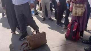 Passengers at Kabul airport