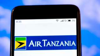 In this photo illustration the Air Tanzania Company Limited logo is seen displayed on a smartphone.
