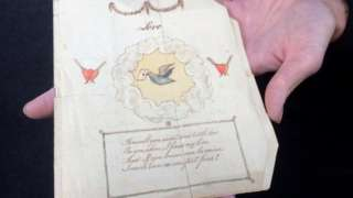 Valentine card dating back to circa 1790
