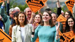 Newly-elected Liberal Democrat leader Jo Swinson and Welsh Liberal Democrat leader Jane Dodds