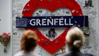 Tributes at the base of Grenfell tower