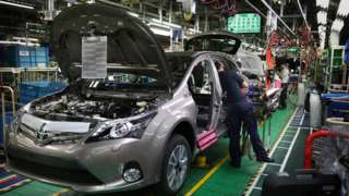 Car production at Toyota in Burnaston, Derbyshire