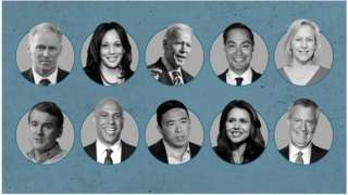 Composite image of the 10 candidates who took part in the second Democratic debate