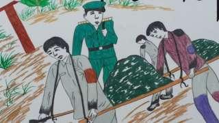 Prisioneros que llevan carbón a villas de agentes de la policía secreta