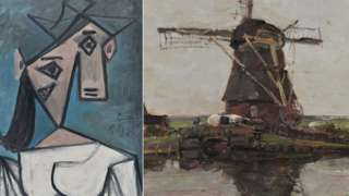 """Картина Пікассо """"Голова жінки"""" (1934) та Піта Мондріана """"Вітряк"""" (1905)"""