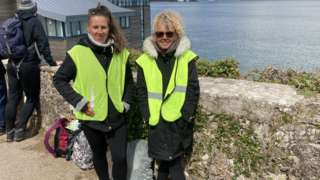 Linda Compton and her daughter Amy on the hill which overlooks the RNLI slipway where Wally the Walrus often stays