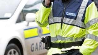 A gardaí standing beside a patrol car