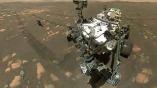 Self portrait of Nasa's Perseverance Mars rover with the Ingenuity helicopter, on 6 April 2021