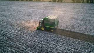 A large cotton picker picks cotton in Shuanghe City, Xinjiang, China, on the evening of September 11, 2020.-