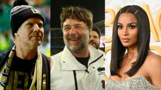 (Left to right) Will Ferrell, Russell Crowe and Ciara