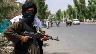A Taliban fighter on patrol in Kandahar