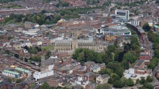 Aerial view of Exeter.