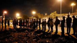 A line of voters outside a polling station in Johannesburg, South Africa on May 8