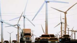 cars and wind turbines