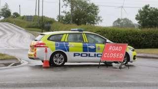 Police near to Staveley Road, in Duckmanton, near Chesterfield, Derbyshire