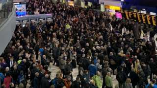 Crowds at London Waterloo on Tuesday