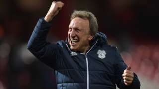 Cardiff City manager Neil Warnock celebrates victory