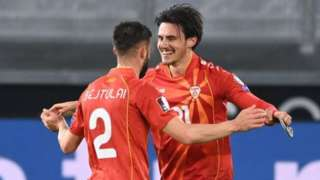 North Macedonia celebrate beating Germany