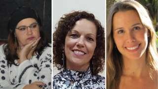 Colagem das fotos de três cientistas: Ariadne Marra (esq.), Simone Hickmann (centro) e Fabienne Ferreira (dir.)