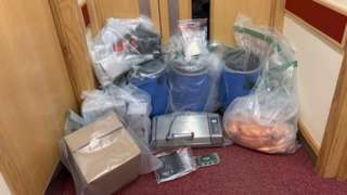 Police released an image of the items seized