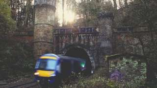 Train out of Bramhope tunnel
