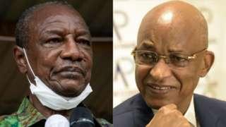 Guinea President Alpha Condé (L) and presidential challenger Cellou Dalein Diallo (R)